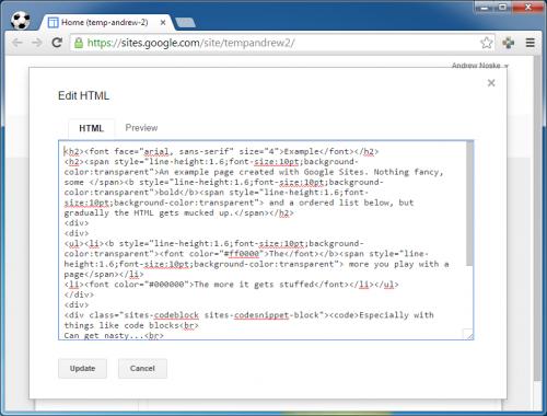 Google Sites - HTML Tag Cleaner - NoskeWiki